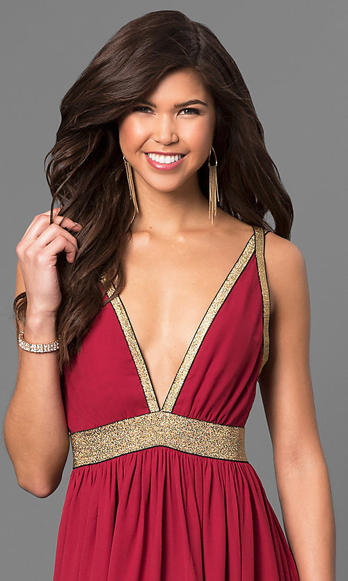 Image of long burgundy red chiffon prom dress with slits. Style: CQ-4182DW-v Detail Image 1
