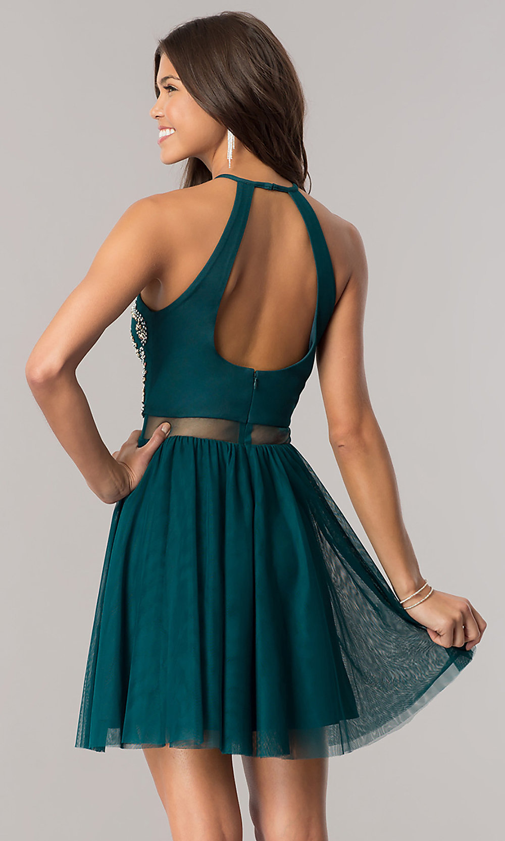 emerald green short homecoming dress promgirl