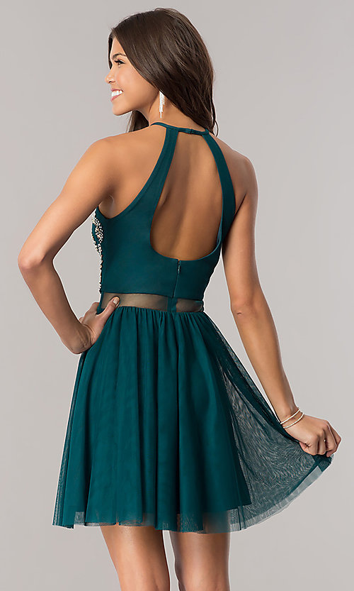 Image of short emerald green homecoming dress with open back. Style: BN-57485 Back Image