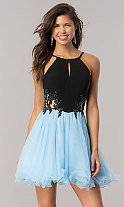 Image of periwinkle blue homecoming dress with black bodice. Style: BN-58050 Front Image