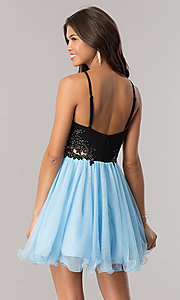 Image of periwinkle blue homecoming dress with black bodice. Style: BN-58050 Back Image