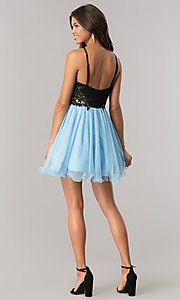 Image of periwinkle blue homecoming dress with black bodice. Style: BN-58050 Detail Image 2