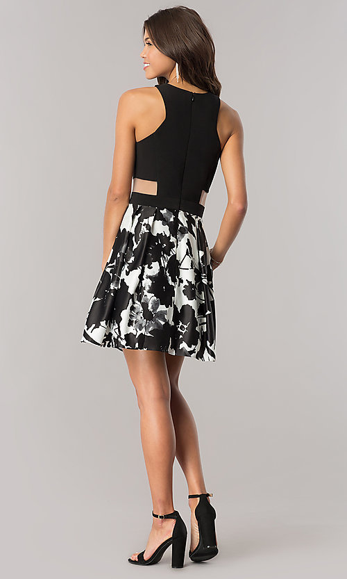 Image of short high-neck satin homecoming dress with pockets. Style: BN-58055 Detail Image 2