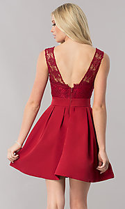 Image of burgundy red short homecoming dress with lace bodice. Style: LP-24086-B Back Image