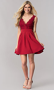 Image of burgundy red short homecoming dress with lace bodice. Style: LP-24086-B Detail Image 1