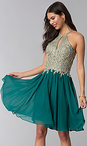 Image of short high-neck Dave and Johnny homecoming dress. Style: DJ-A6226 Detail Image 4