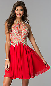 Image of short high-neck Dave and Johnny homecoming dress. Style: DJ-A6226 Detail Image 3