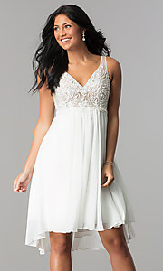 White High-Low Homecoming Dress