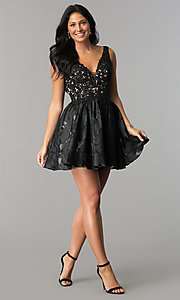Image of open-back black v-neck short homecoming party dress. Style: TI-GL-1725H4802 Detail Image 2