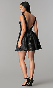 Image of open-back black v-neck short homecoming party dress. Style: TI-GL-1725H4802 Detail Image 3