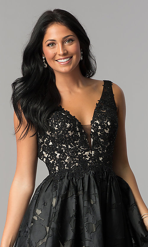 Image of open-back black v-neck short homecoming party dress. Style: TI-GL-1725H4802 Detail Image 1
