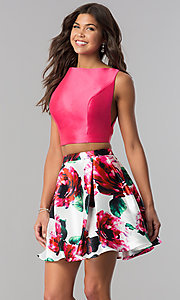 Image of floral-print open-back two-piece homecoming dress. Style: TI-GL-1725H4805 Front Image