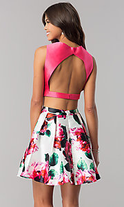 Image of floral-print open-back two-piece homecoming dress. Style: TI-GL-1725H4805 Back Image