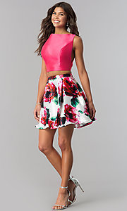 Image of floral-print open-back two-piece homecoming dress. Style: TI-GL-1725H4805 Detail Image 1