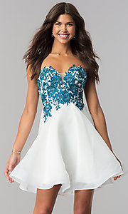 Ivory Homecoming Dress with Corset and Blue Lace