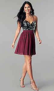 Image of sequin-bodice burgundy red short homecoming dress. Style: LP-24742 Detail Image 2