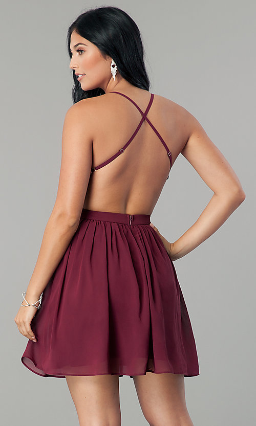 Image of sequin-bodice burgundy red short homecoming dress. Style: LP-24742 Back Image