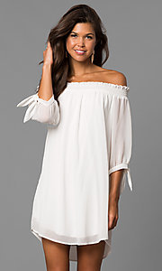 Image of short shift homecoming party dress in eggshell white. Style: CT-9560RU9B Front Image