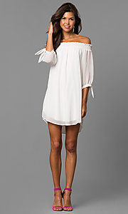 Image of short shift homecoming party dress in eggshell white. Style: CT-9560RU9B Detail Image 1