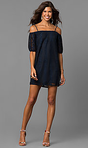 Image of short navy off-the-shoulder casual lace dress. Style: CT-3219RR4B Detail Image 1