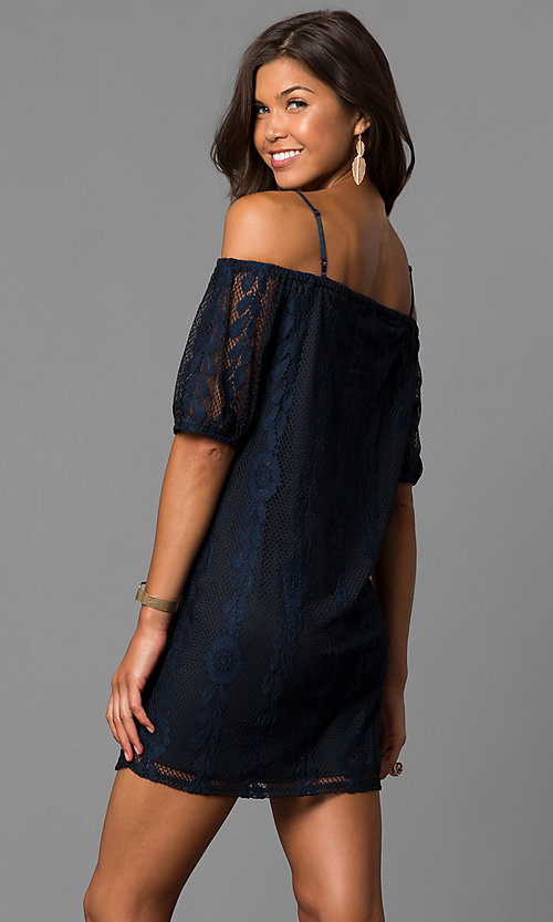 Image of short navy off-the-shoulder casual lace dress. Style: CT-3219RR4B Back Image