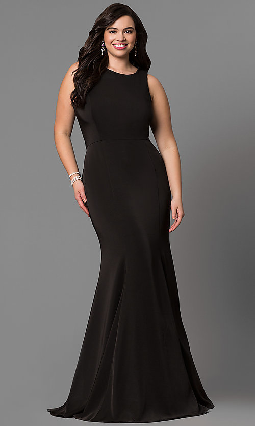 Image of long racerback plus-size evening dress. Style: DQ-9635P Front Image
