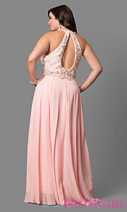 Image of plus-size prom dress with jeweled high-neck bodice. Style: DQ-9591P Back Image