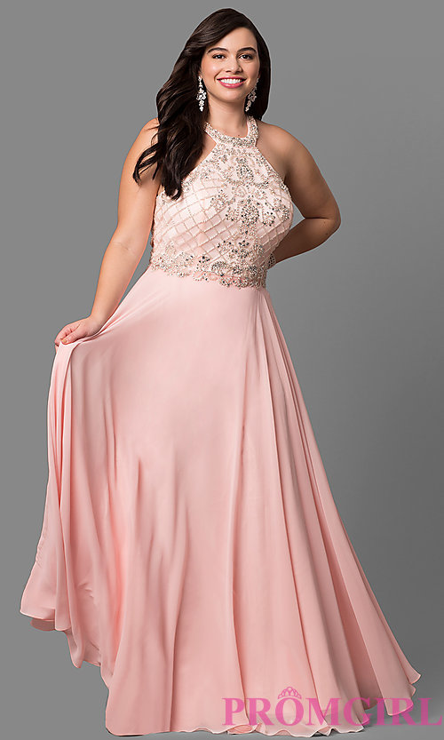 Image of plus-size prom dress with jeweled high-neck bodice. Style: DQ-9591P Front Image