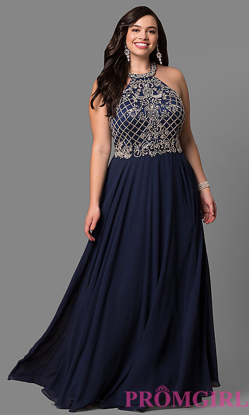 Image of plus-size prom dress with jeweled high-neck bodice. Style: DQ-9591P Detail Image 2