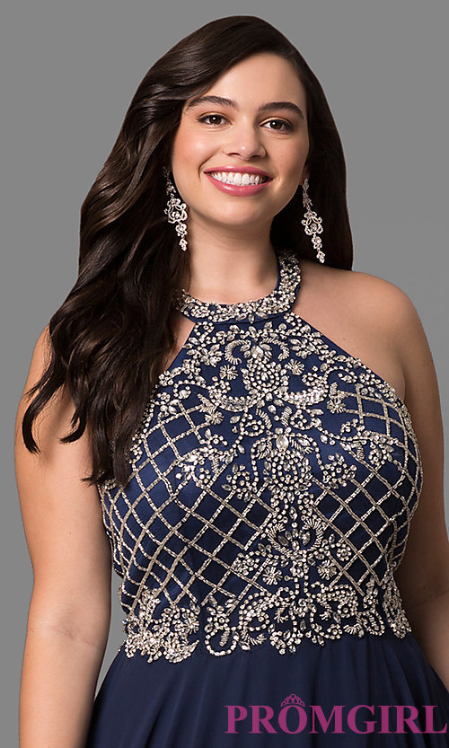 Image of plus-size prom dress with jeweled high-neck bodice. Style: DQ-9591P Detail Image 3