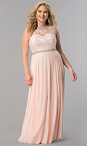 Image of high-neck long plus-size prom dress with open back. Style: DQ-9458P Detail Image 3