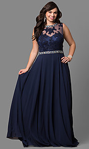 Image of high-neck long plus-size prom dress with open back. Style: DQ-9458P Front Image