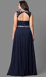 Image of high-neck long plus-size prom dress with open back. Style: DQ-9458P Back Image