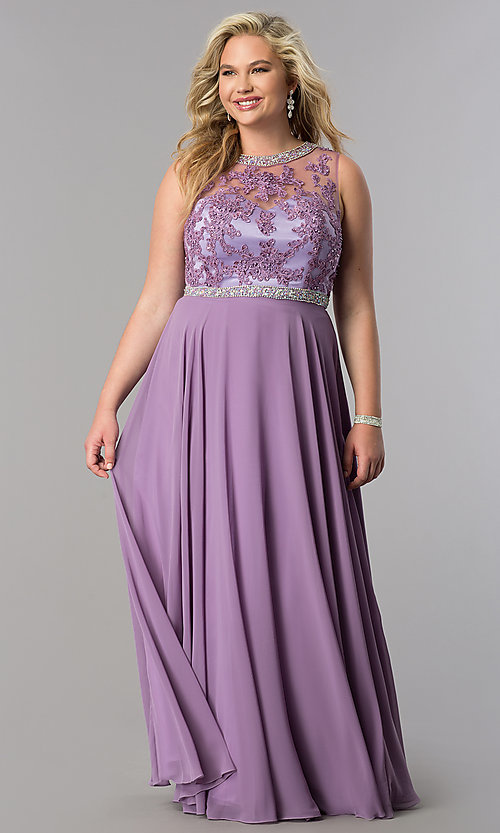 Image of high-neck long plus-size prom dress with open back. Style: DQ-9458P Detail Image 2