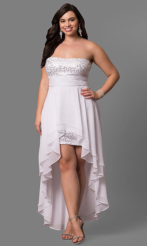 Plus Size Strapless Sequined High-Low Prom Dress