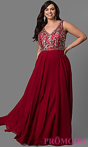 Image of long plus-size accented v-neck bodice evening dress. Style: DQ-9589P Front Image