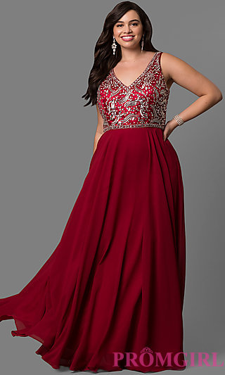 Plus-Size Evening Dress with Jewel Accents - PromGirl