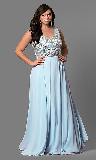 Long Plus-Size Accented V-Neck Bodice Evening Dress