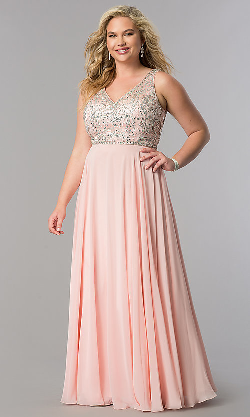 Image of long plus-size accented v-neck bodice evening dress. Style: DQ-9589P Detail Image 3