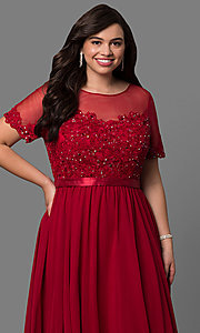 Image of plus-size long formal dress with sleeved sheer bodice. Style: DQ-9710P Detail Image 1