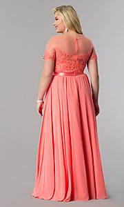 Image of plus-size long formal dress with sleeved sheer bodice. Style: DQ-9710P Detail Image 6