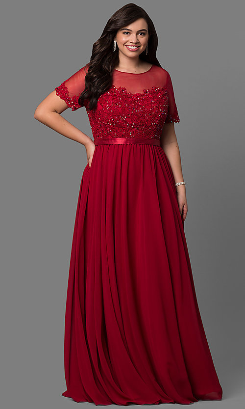 418e3c3ef3b99 Image of plus-size long formal dress with sleeved sheer bodice. Style: DQ