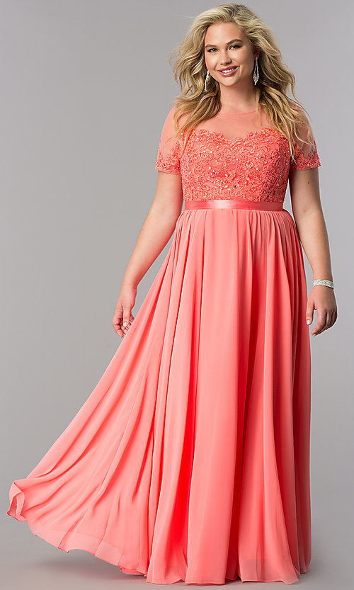Image of plus-size long formal dress with sleeved sheer bodice. Style: DQ-9710P Detail Image 2