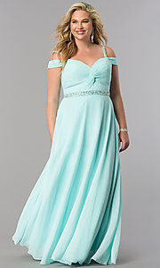 Image of plus-size cold-shoulder long chiffon prom dress. Style: DQ-9718P Detail Image 2