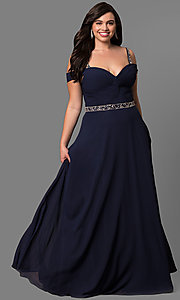 Image of plus-size cold-shoulder long chiffon prom dress. Style: DQ-9718P Front Image