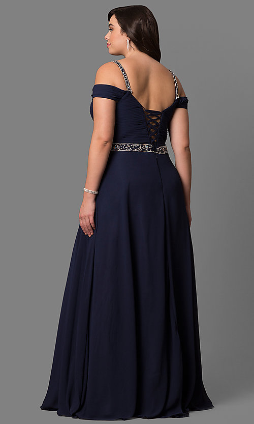 Image of plus-size cold-shoulder long chiffon prom dress. Style: DQ-9718P Back Image
