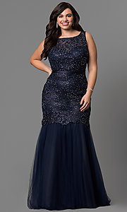 Image of long plus-size lace mermaid prom dress in navy blue. Style: DQ-9256P-N Front Image