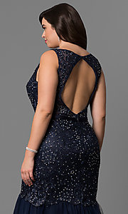 Image of long plus-size lace mermaid prom dress in navy blue. Style: DQ-9256P-N Detail Image 2