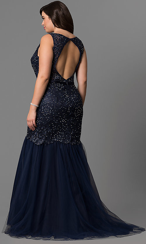 Image of long plus-size lace mermaid prom dress in navy blue. Style: DQ-9256P-N Back Image
