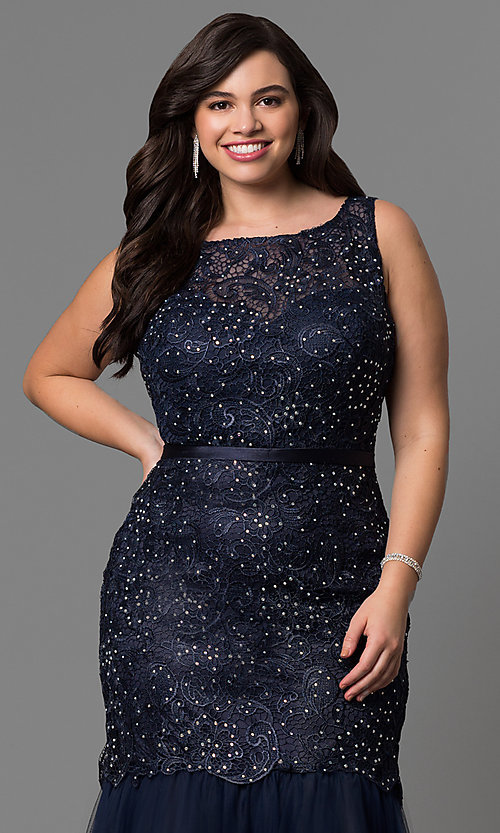 Image of long plus-size lace mermaid prom dress in navy blue. Style: DQ-9256P-N Detail Image 1